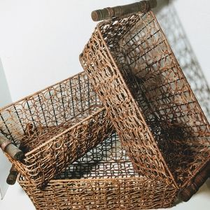 3 Wire & Wicker baskets with wooden handles